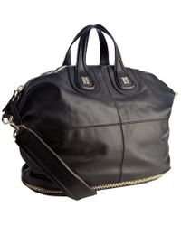 Givenchy Black Zipper Detail Calfskin Nightingale Large Tote Bag - Lyst
