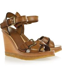 Isabel Marant Handy Leather Wedge Sandals - Brown
