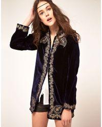 Winter Kate Sweet Sargeant Velvet Embroidered Jacket - Black