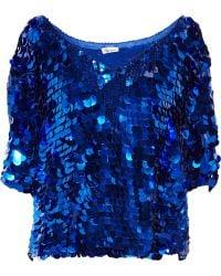 Foley + Corinna Paillette-embellished Chiffon Top - Blue