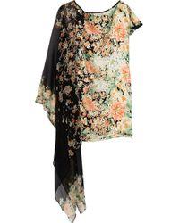 Foley + Corinna Draped Floral-print Silk-satin Dress - Orange