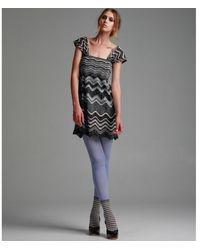 M Missoni Silver Metallic Wave Stripe Dress - Lyst