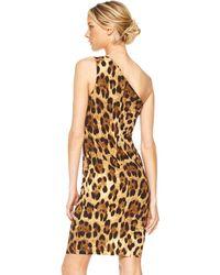 Michael Kors One-shoulder Dress, Leopard Print - Lyst