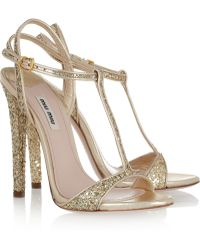 Miu Miu Glitter-finish Leather Sandals - Lyst