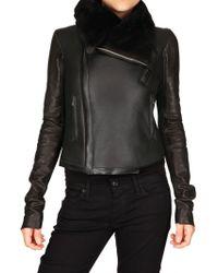 Rick Owens Shearling Biker Leather Jacket - Lyst
