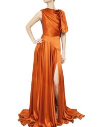 Roksanda Draped Silk Satin Dress - Lyst