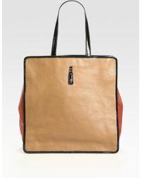 Saint Laurent Large Leather Tote Bag - Lyst