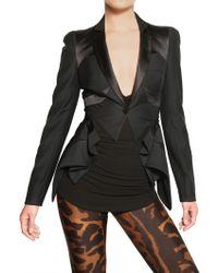 Alexander McQueen Satin Profile Cool Wool Tuxedo Jacket black - Lyst