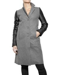 American Retro Felted Wool and Lamb Leather Coat gray - Lyst