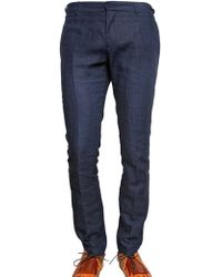 Burberry Prorsum 17cm Chambray Linen Skinny Fit Trousers - Lyst