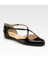 Christian Louboutin Pneumatica Patent Leather Mary Jane Flats black - Lyst