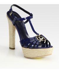 Dior Cd2 Patent Leather T Strap Platform Sandals - Black