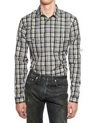 Dior Homme Checked Cotton Poplin Shirt black - Lyst