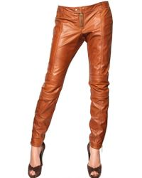 DSquared² Nappa Leather Biker Trousers - Lyst