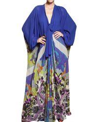 Etro Printed Silk Georgette Long Dress - Lyst