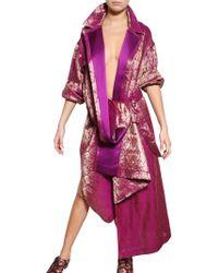 Haider Ackermann Linen Silk Damask Coat purple - Lyst
