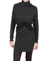 Lanvin Draped Wool Knit Dress - Lyst