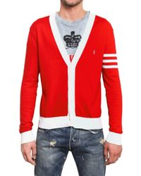 Balmain Cotton Knit Logo Cardigan Sweater - Red