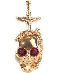 Alexander McQueen Dagger Skull Ring gold - Lyst