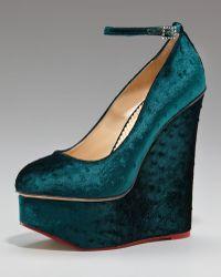 Charlotte Olympia Ostrich Velvet Wedge Pump blue - Lyst