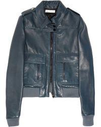 Chloé Leather Biker Jacket - Blue