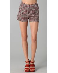 Elizabeth and James - Willie Printed Satin Twill Shorts - Lyst