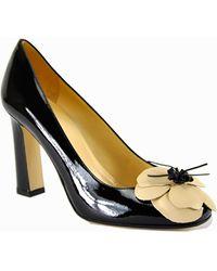 Kate Spade Zaria - Black Patent Leather Flower Pump - Lyst
