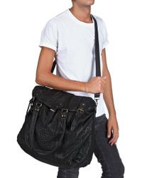 Officine Creative Textured Calfskin Weekender Bag - Black