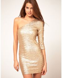 TFNC Tfnc Sequin Dress with One Sleeve - Lyst