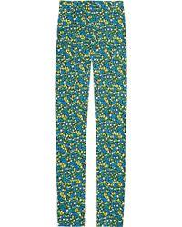 Versus  Floral print Crepe Slim-leg Pants blue - Lyst