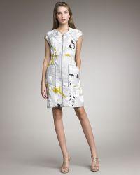 Lela Rose Printed Front-Zip Dress - Lyst