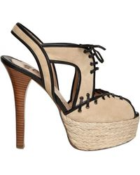 Ernesto Esposito 130mm Suede & Leather Laced Sandals - Lyst