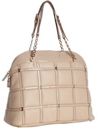 Ferragamo First Blush Lattice Leather Double Strap and Chain Top Handle Bag - Lyst