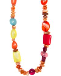Mango Coulored Stones Necklace - Lyst