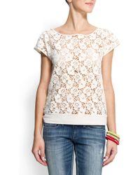Mango Lace T-Shirt - Lyst