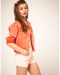 ASOS Collection | Asos Cropped Boyfriend Jacket in Peach Red | Lyst
