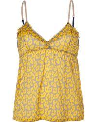 3.1 Phillip Lim Grey and Daffodil Printed Silk Top - Lyst