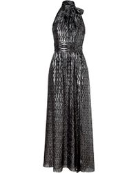 Halston Heritage Black and Silver Halter Gown - Lyst