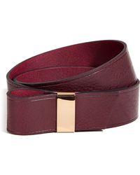 Maje Aubergine Leather Belt - Lyst