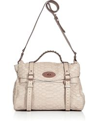 Mulberry Pebbled Beige Snake Print Oversized Alexa Bag - Lyst