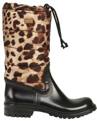 Dolce & Gabbana Rubber and Leopard Print Boots - Lyst