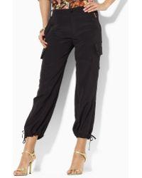 Lauren by Ralph Lauren Ramsey Silk Cropped Cargo Pant - Black