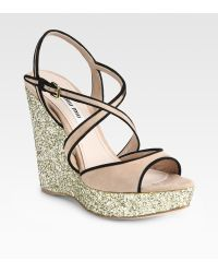 Miu Miu Glitter and Suede Slingback Wedge Sandals - Lyst