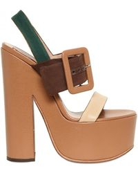 Rochas 150mm Canvas & Leather Buckle Sandals - Lyst