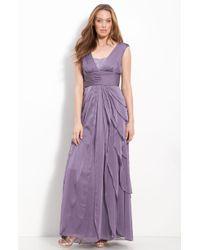 Adrianna Papell Sequin Chiffon Flutter Skirt Gown - Lyst