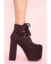Nasty Gal Unif Hellbound Leather Platform Bootie - Lyst