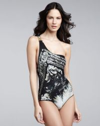 Balmain Printed One-Shoulder One-Piece - Lyst