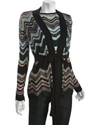 M Missoni Dark Green Wave Stripe Wool Blend Cardigan Sweater - Lyst