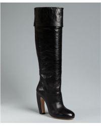 Miu Miu Black Leather Cuffed Tall Boots - Lyst
