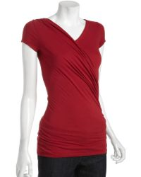 Rebecca Beeson | Vampire Cotton Blend Wrap Front Top | Lyst